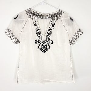 J Crew Baja Embroidered Peasant Blouse Top White 2